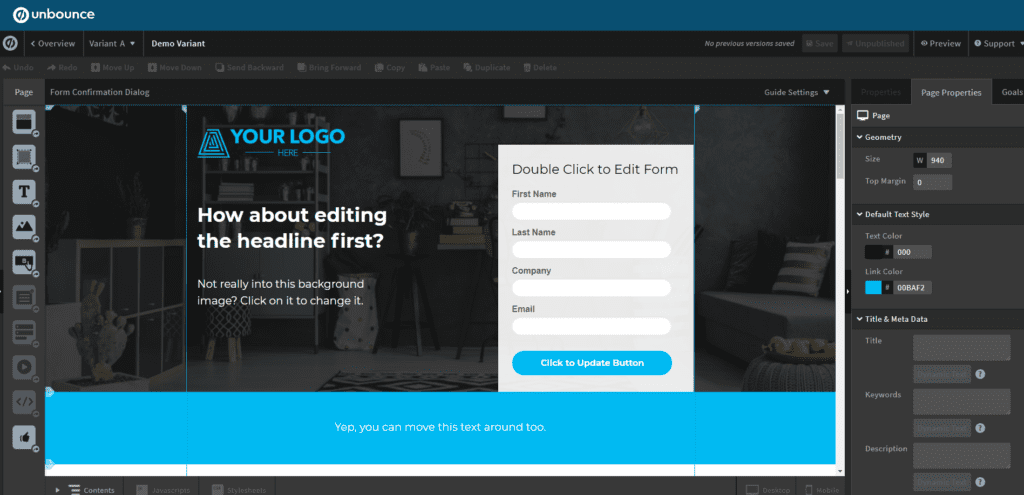unbounce ab testing tool