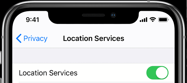 mobile location services toggle function