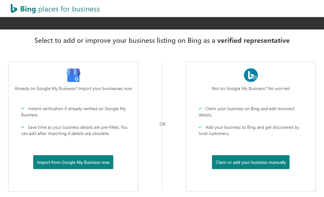 bing places for business profile