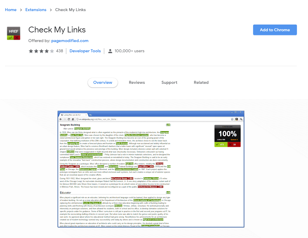Check My Links Chrome Extension