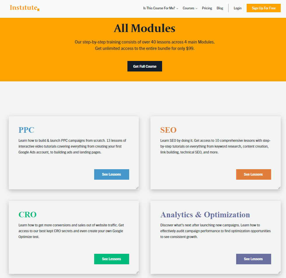 Directive Institute Modules page