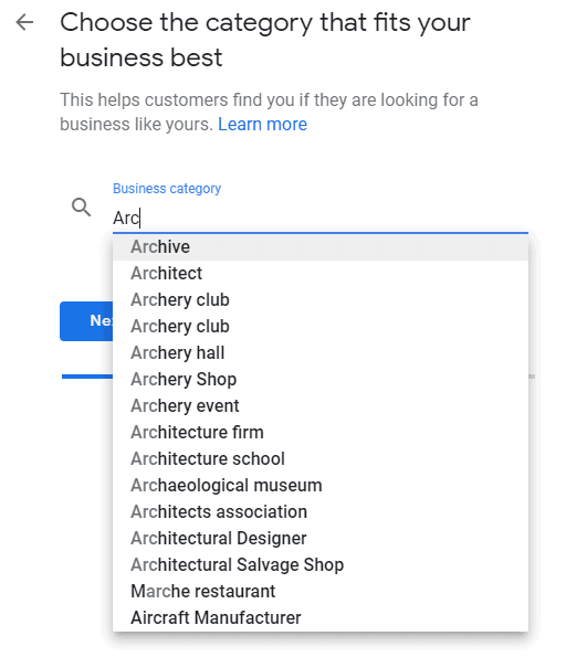 Choosing a category on Google My Business