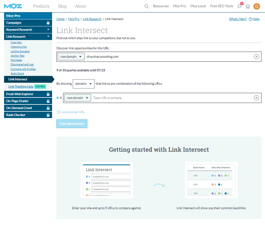 Moz Link Intersect Dashboard