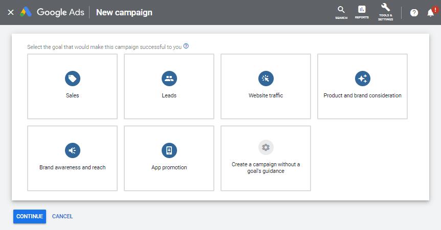 google ads campaign objectives
