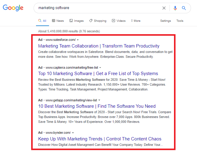 google paid search advertising