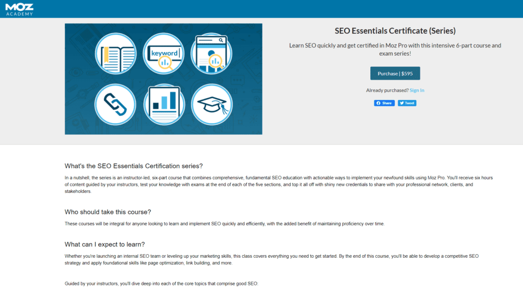 moz seo certification