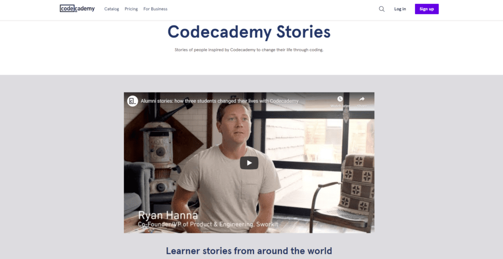 codeacademy testimonial page