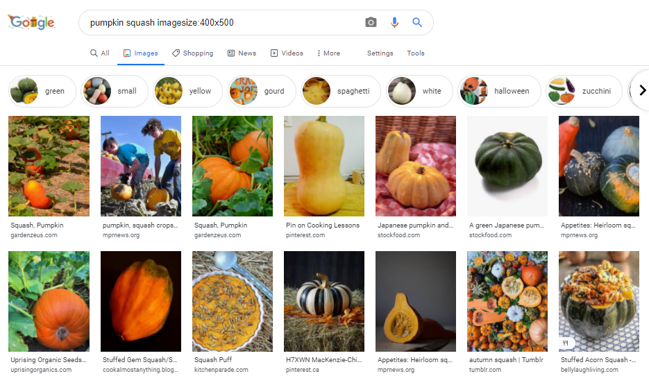 search image size
